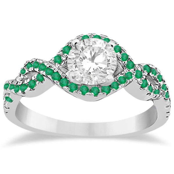 emerald halo infinity engagement ring in platinum 0 39ct