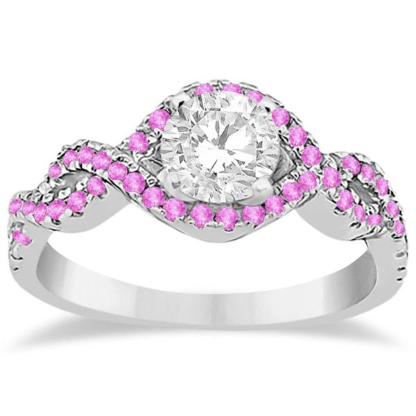 Pink Sapphire Halo Infinity Engagement Ring In Palladium (0.39ct)