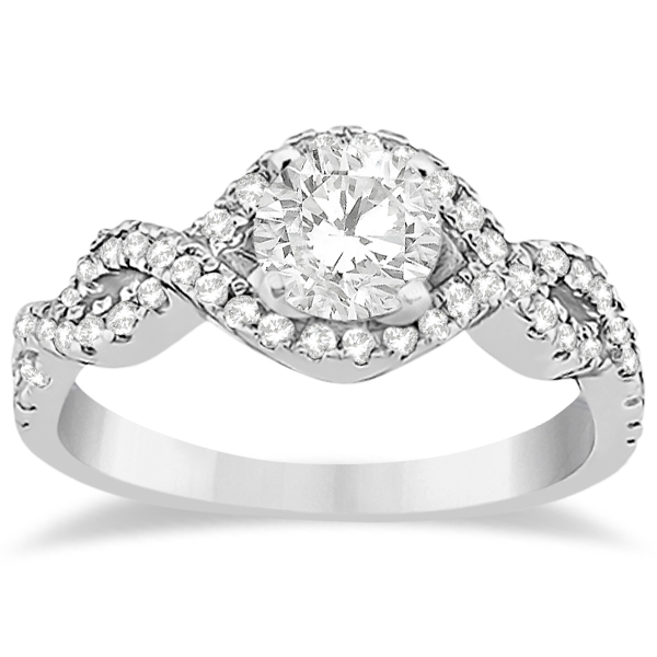 Diamond Infinity Halo Engagement Ring & Band Set 14K White Gold 0.60ct