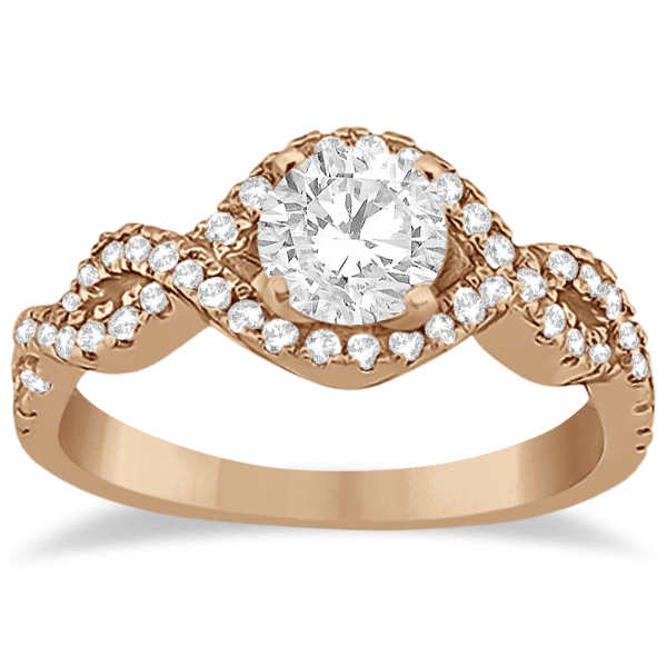 Diamond Infinity Halo Engagement Ring & Band Set 18K Rose Gold (0.60ct)