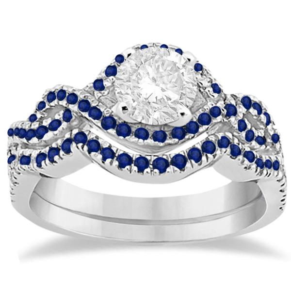 Blue Sapphire Infinity Halo Engagement Ring & Band Set 18K White Gold (0.60ct)