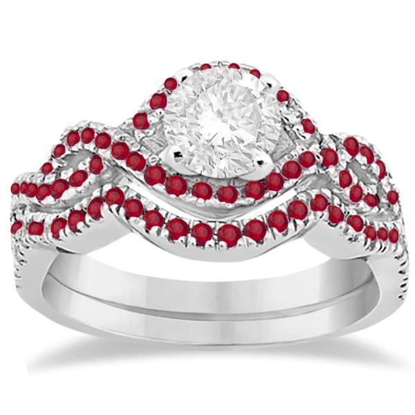 Ruby Infinity Halo Engagement Ring & Band Set 14K White Gold (0.60ct)