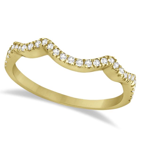 Contoured Semi Eternity Diamond Wedding Band 14K Yellow Gold (0.21ct)