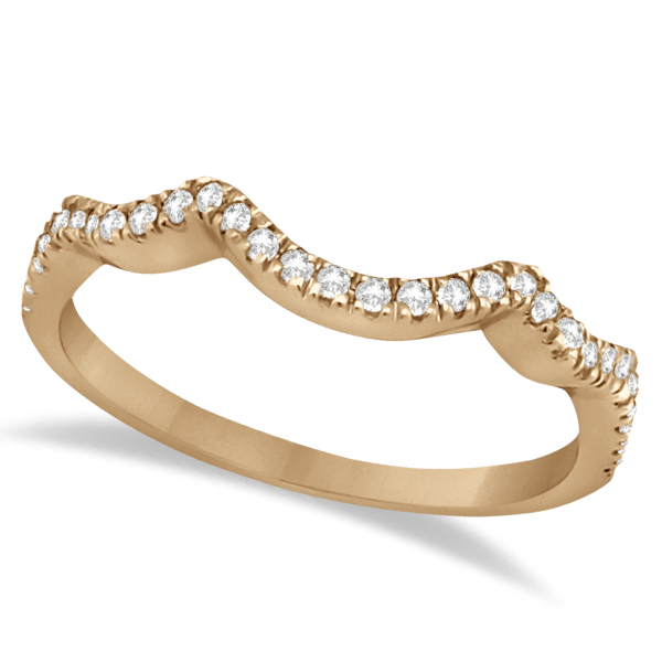 Contoured Semi Eternity Diamond Wedding Band 18K Rose Gold (0.21ct)