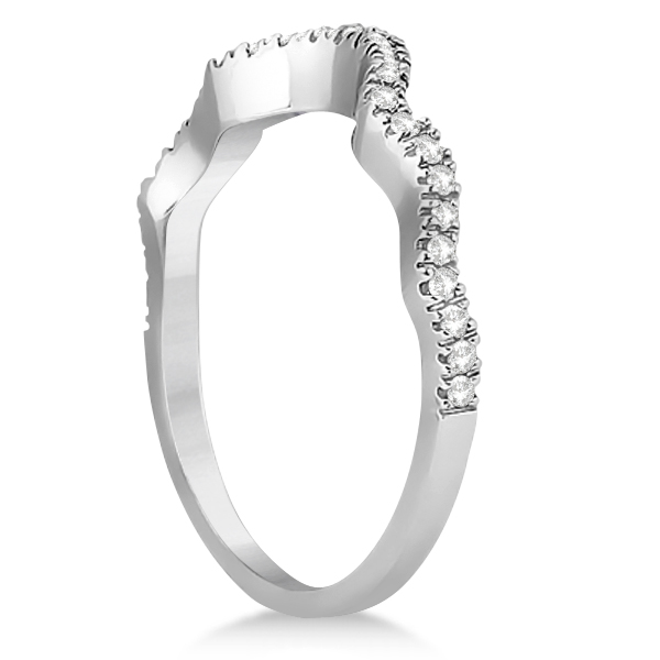 Contoured Semi Eternity Diamond Wedding Band 18K White Gold (0.21ct)