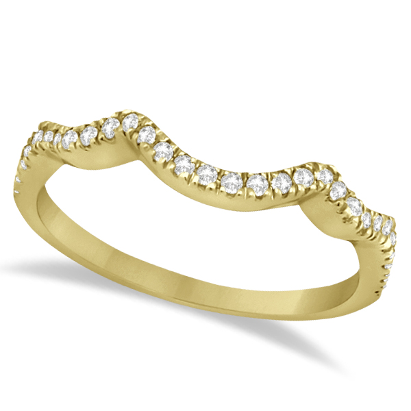 Contoured Semi Eternity Diamond Wedding Band 18K Yellow Gold (0.21ct)