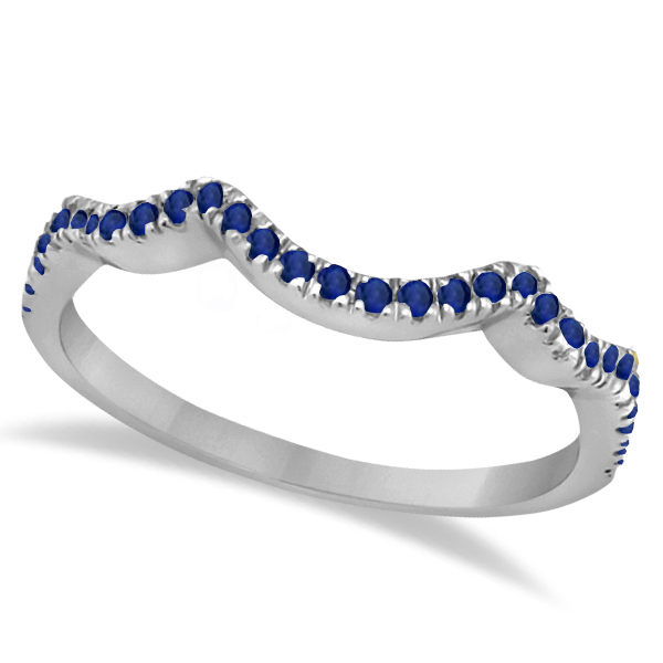 Contoured Semi Eternity Blue Sapphire Wedding Band 18K White Gold (0.21ct)