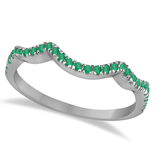 Contoured Semi Eternity Emerald Wedding Band 18K White Gold (0.21ct)