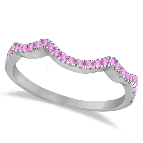 Contoured Semi Eternity Pink Sapphire Wedding Band 14K White Gold (0.21ct)