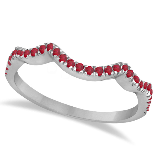 Contoured Semi Eternity Ruby Wedding Band Platinum (0.21ct)