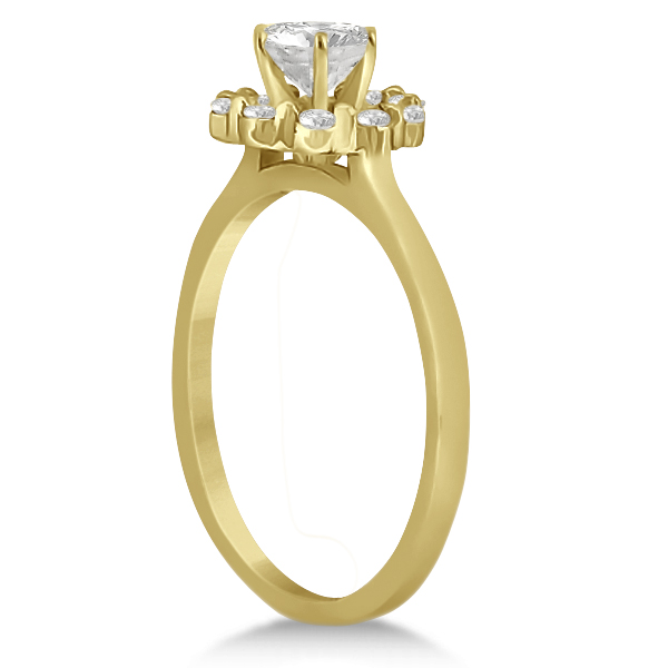 Floral Diamond Halo Engagement Ring Setting 14k Yellow Gold (0.20ct)