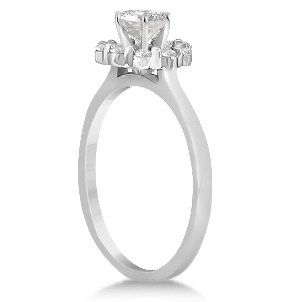 Floral Diamond Halo Engagement Ring Setting Platinum (0.20ct)