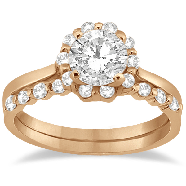 Floral Diamond Halo Engagement Bridal Set 14k Rose Gold (0.40ct)