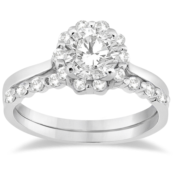 Floral Diamond Halo Engagement Bridal Set 14k White Gold (0.40ct)