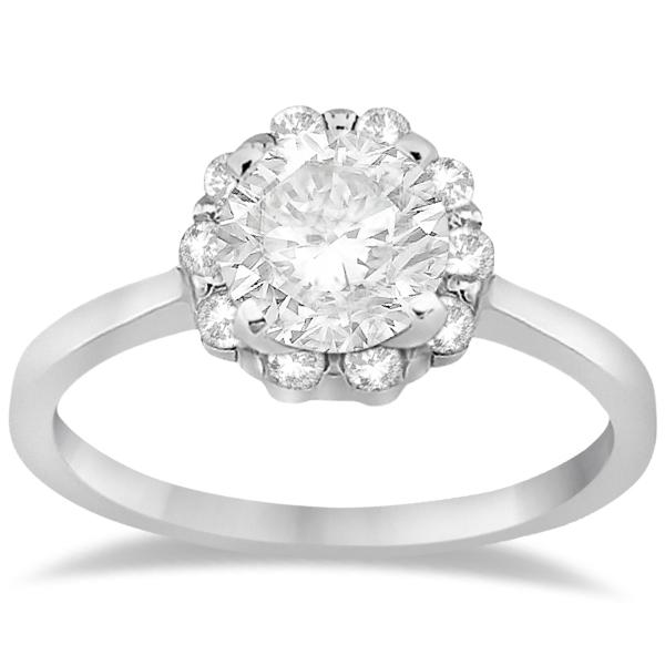 Floral Diamond Halo Engagement Bridal Set 18k White Gold (0.40ct)