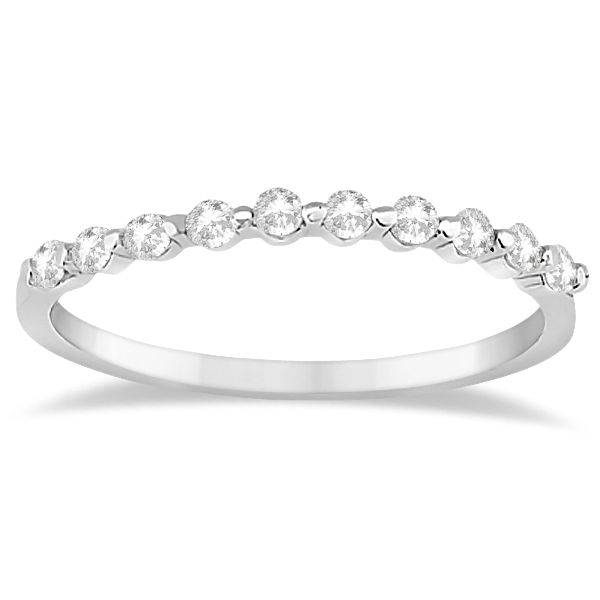 Elegant Diamond Semi-Eternity Wedding Band 14k White Gold (0.20ct)