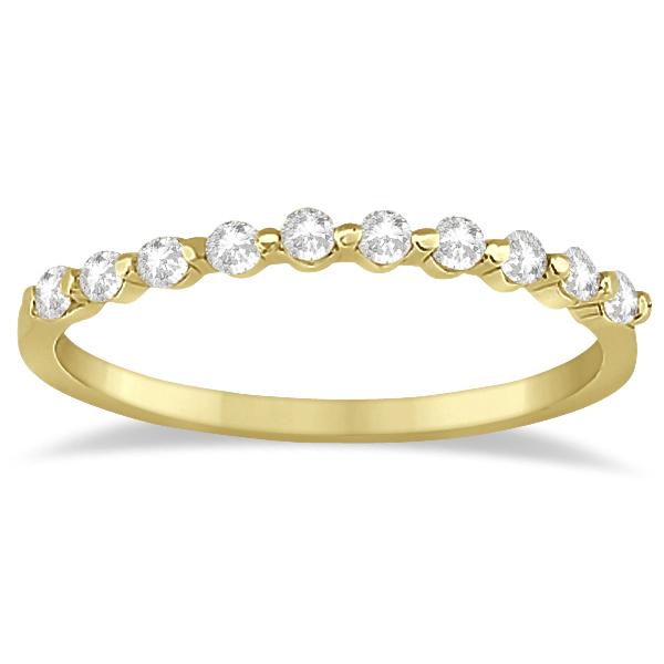 Elegant Diamond Semi-Eternity Wedding Band 14k Yellow Gold (0.20ct)