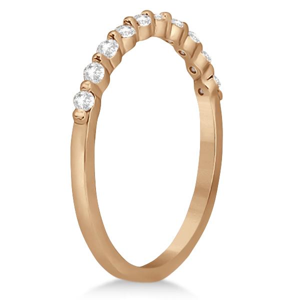 Elegant Diamond Semi-Eternity Wedding Band 18k Rose Gold (0.20ct)