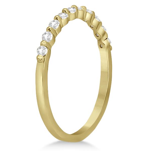 Elegant Diamond Semi-Eternity Wedding Band 18k Yellow Gold (0.20ct)