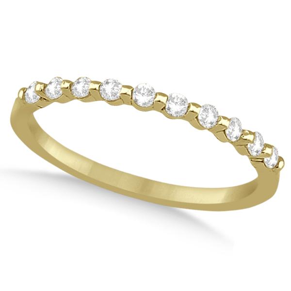 Prong Diamond Semi Eternity Wedding Band 14K Yellow Gold (0.20ct)
