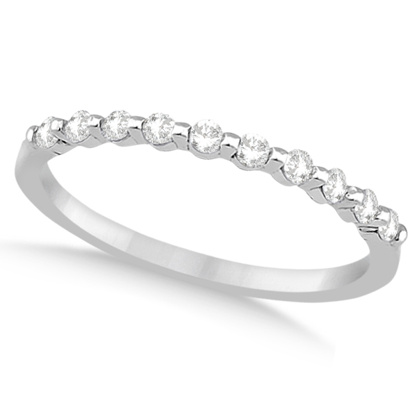 Prong Diamond Semi Eternity Wedding Band 18K White Gold (0.20ct)