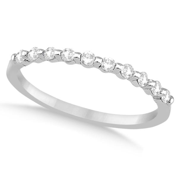 Prong Diamond Semi Eternity Wedding Band Platinum (0.20ct)