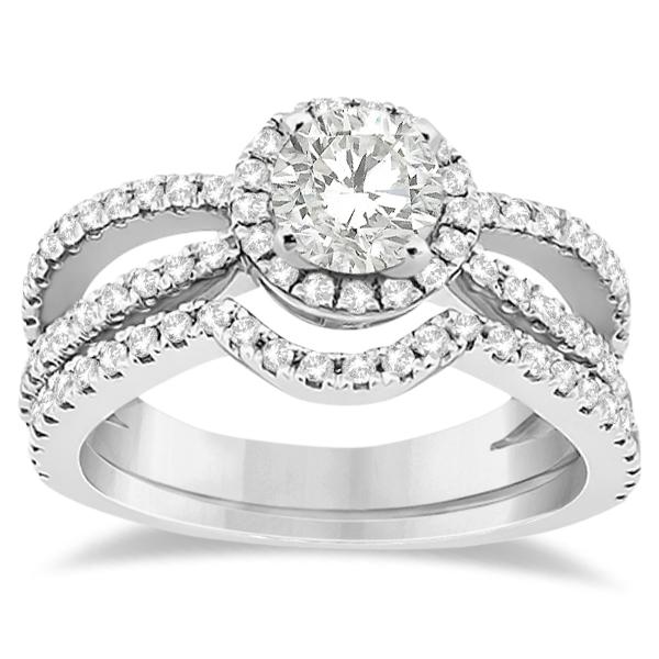 Diamond Halo Split Shank Engagement Bridal Set 14k White Gold (0.67ct)