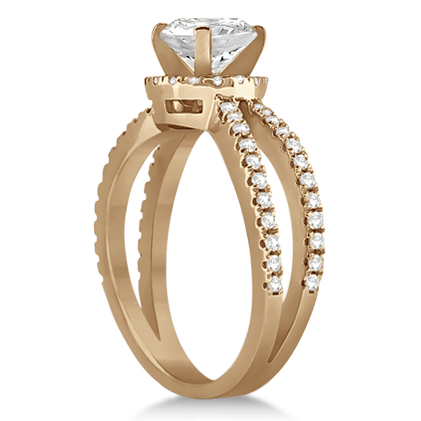 Diamond Halo Split Shank Engagement Bridal Set 18k Rose Gold (0.67ct)