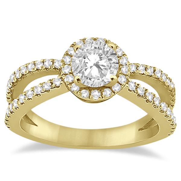 Diamond Halo Split Shank Engagement Bridal Set 18k Yellow Gold (0.67ct)