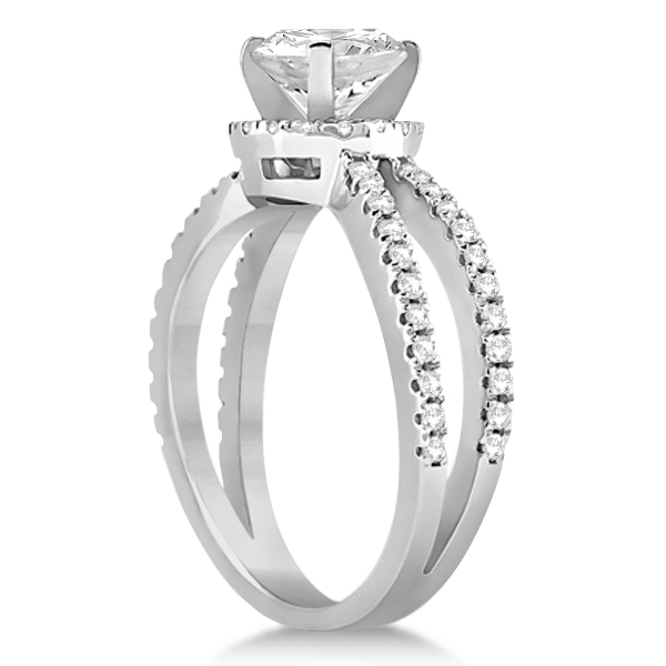 Diamond Halo Split Shank Engagement Ring Bridal Set Platinum (0.67ct)