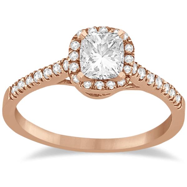 Diamond Halo Square Engagement Ring 14K Rose Gold (0.26ct)