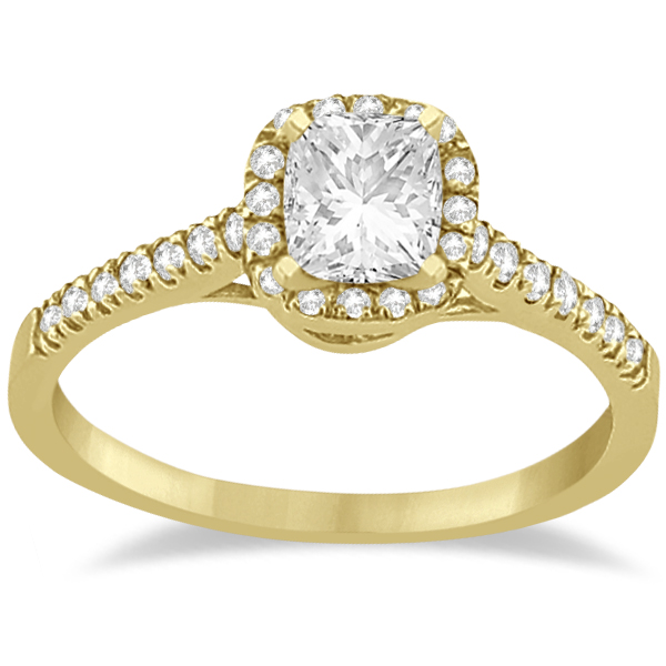 Square Halo Ring & Wedding Band Bridal Set 14K Yellow Gold (0.43ct)