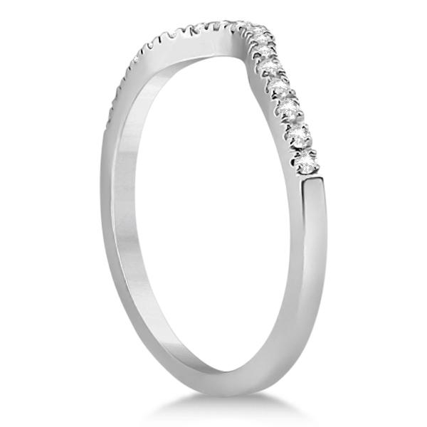 Square Halo Ring & Wedding Band Bridal Set Palladium (0.43ct)