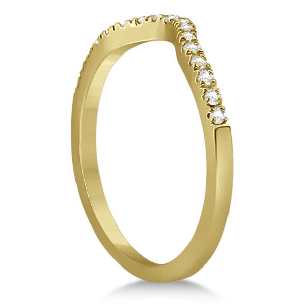 Pave Contoured Diamond Wedding Band 14K Yellow Gold (0.17ct)