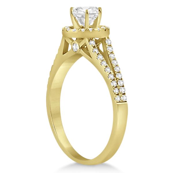 Angels Halo Split Shank Diamond Engagement Ring 18k Yellow Gold 0.43ct