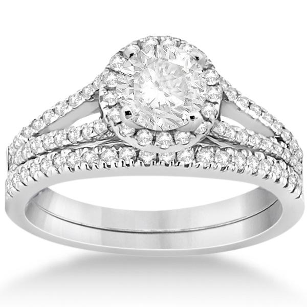 Angels Halo Diamond Engagement Ring & Wedding Band 18k White Gold