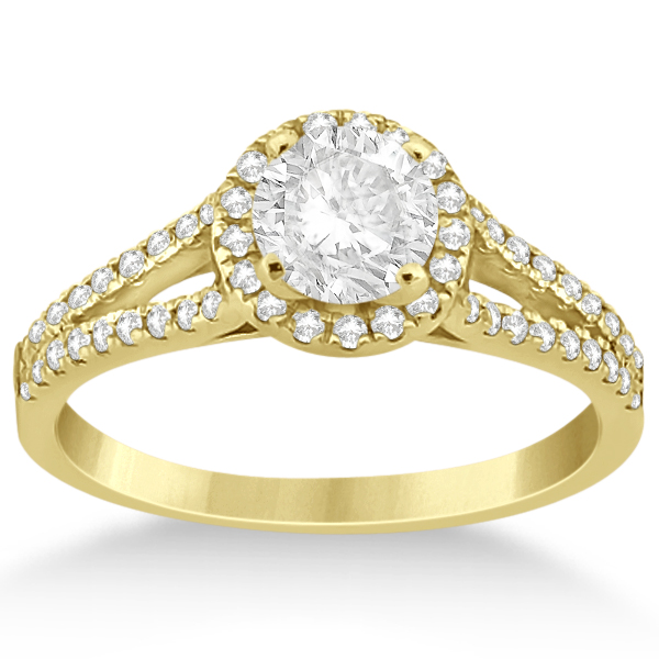 Angels Halo Diamond Engagement Ring & Wedding Band 18k Yellow Gold