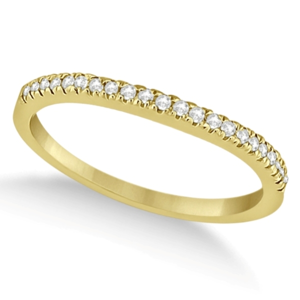 Modern Half-Eternity Diamond Engagement Ring 14k Yellow Gold (0.17ct)