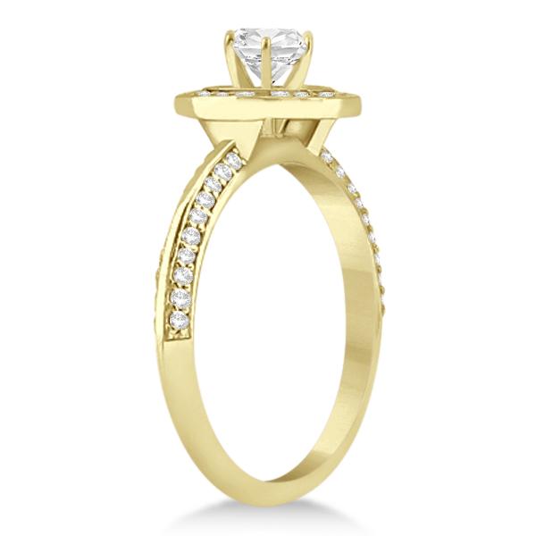 Knife Edge Halo Diamond Engagement Ring Setting 14k Y. Gold (0.36ct)