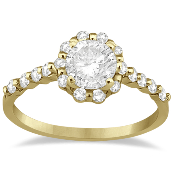 Halo Diamond Semi Eternity Engagement Ring 14K Yellow Gold (0.36ct)