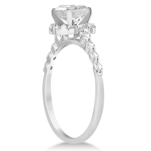 Halo Diamond Semi Eternity Engagement Ring 18K White Gold (0.36ct)