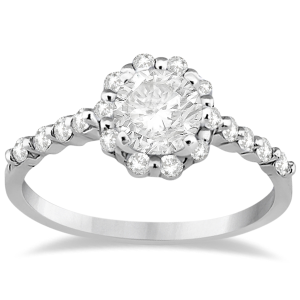 Halo Diamond Semi Eternity Engagement Ring Palladium (0.36ct)