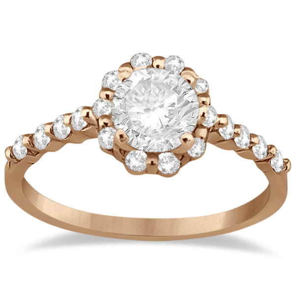 Halo Diamond Engagement Ring & Wedding Band 14K Rose Gold (0.56ct)