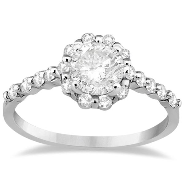 Halo Diamond Engagement Ring & Wedding Band 14K White Gold (0.56ct)