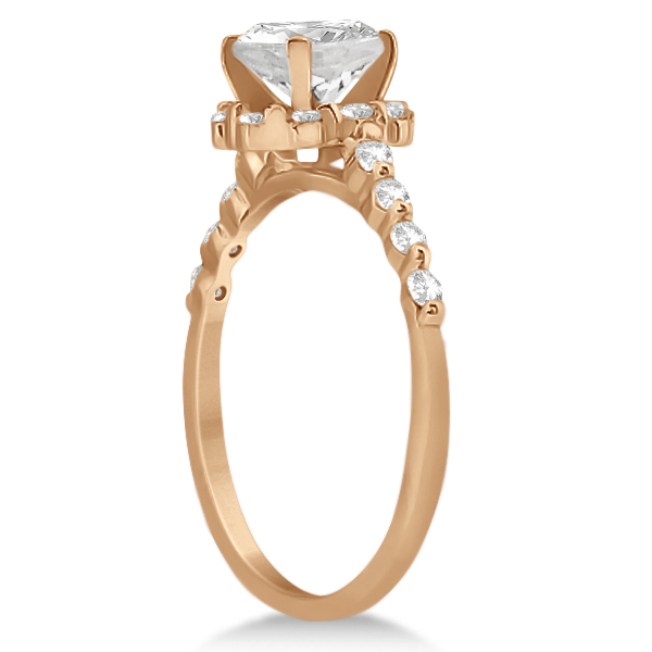 Halo Diamond Engagement Ring & Wedding Band 18K Rose Gold (0.56ct)