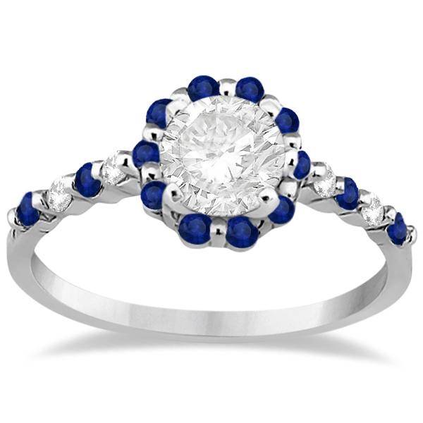 Diamond and Sapphire Halo Engagement Ring Platinum (0.64ct)