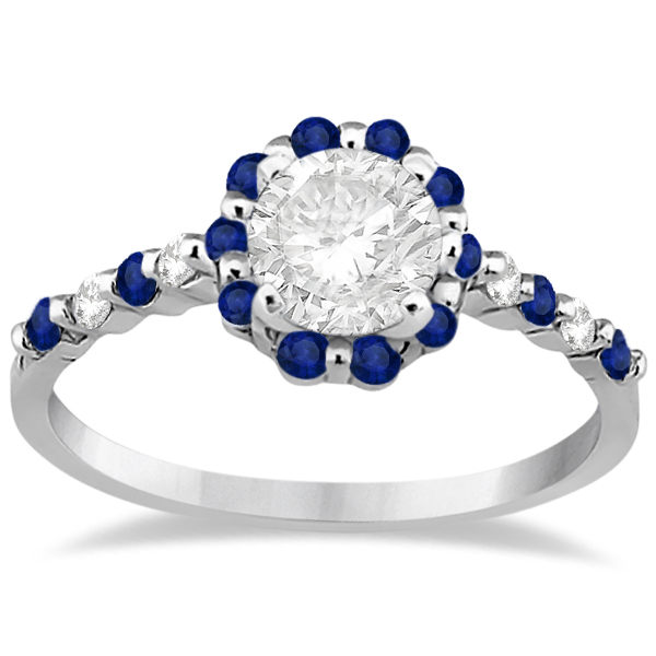 Diamond and Sapphire Engagement Ring Bridal Set 18K White Gold (0.94ct)