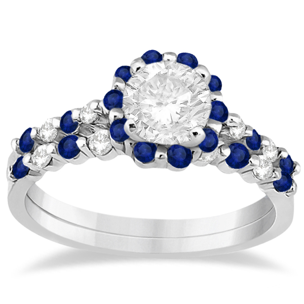 Diamond and Sapphire Engagement Ring Bridal Set Palladium (0.94ct)