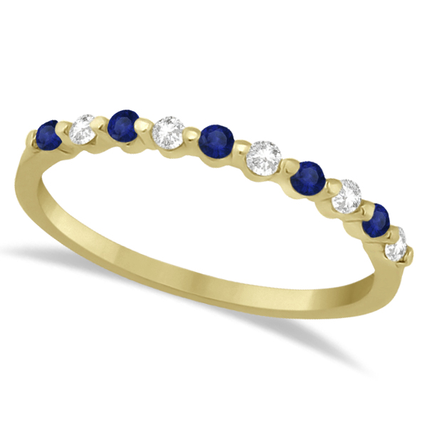 Diamond and Blue Sapphire Wedding Band 14K Yellow Gold (0.30ct)