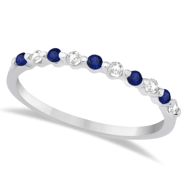 Diamond and Blue Sapphire Wedding Band 18K White Gold (0.30ct)